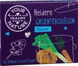 bouillon blokjes groente zoutarm (heldere) Your Organic Nature 60 gram