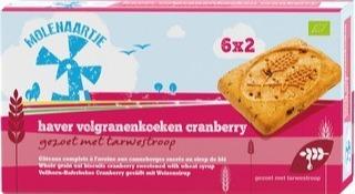 Haver volgranenkoeken met cranberry Molenaartje 240 gram 6x2