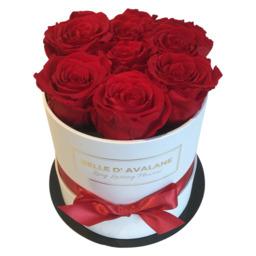 7 rode eternal rozen in een  witte flowerbox