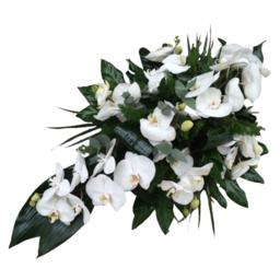 Rouwstuk met witte orchideeen