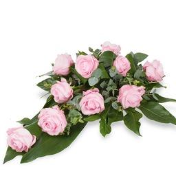 Rouwbloemstuk pink roses