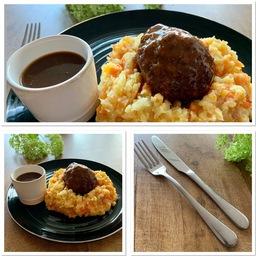 Nasi of bami met kipsaté, atjar, kroepoek en gebakken uitjes