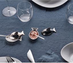 Alessi Zoutschaaltje met  Lepel Colombina Fish
